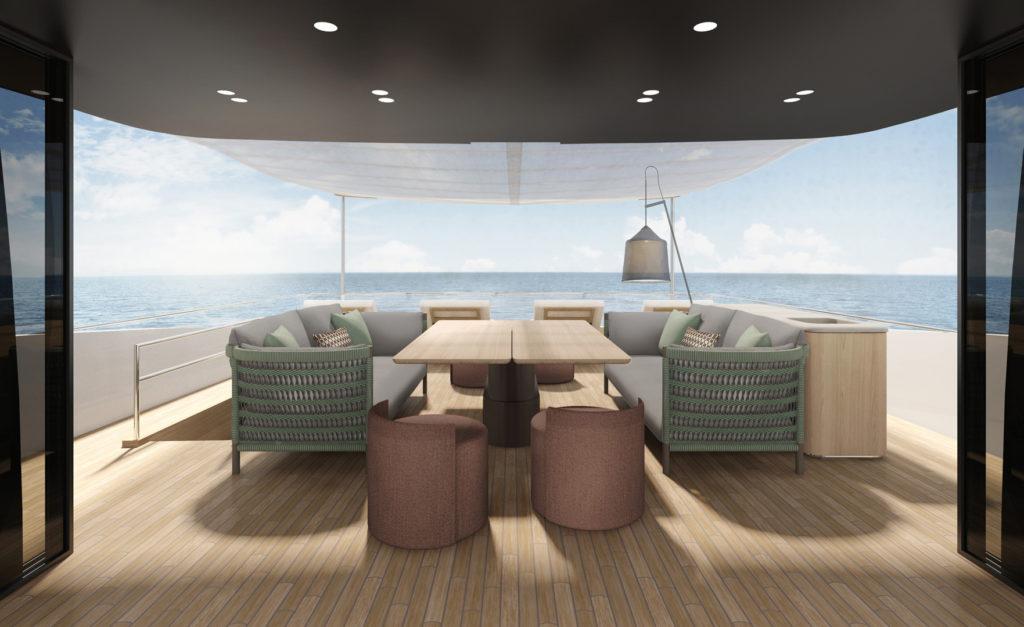 Yacht Sanlorenzo SD96 Residential Biscuit Urquiola pavimento in legno parquet